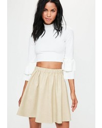 Missguided Cream Faux Leather Gathered Waist Mini Skirt