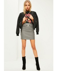 Missguided Grey Pierce Ring Belted Faux Leather Mini Skirt