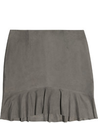 L'Agence Ruffled Suede Mini Skirt