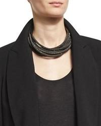Brunello Cucinelli Monili Metallic Leather Coil Necklace