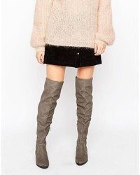 Chiaverni leather flat over the knee boots medium 849476