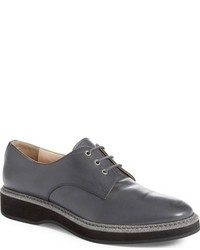 Grey Leather Oxford Shoes
