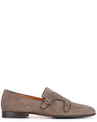 Santoni Buckle Strap Monk Shoes