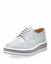 Prada Platform Brogue Trim Leather Oxford