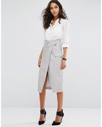 Asos Leather Look Pencil Skirt With Belted Waistband And Pockets