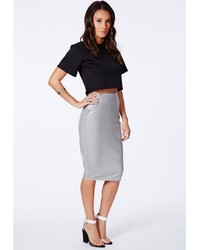 Grey Leather Pencil Skirt