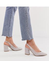 New Look Croc Point Sling Back Heel In Grey