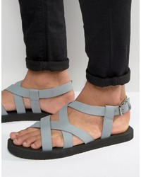 Asos Cross Over Sandals In Gray Nubuck Leather