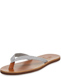 Brunello Cucinelli Leather Sole Flip Flop Gray