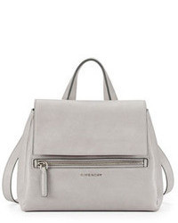 Grey Leather Satchel Bag