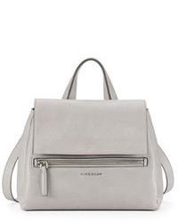 Grey Leather Satchel Bag