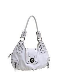 Dasein Lady Fashion Leather Like Shoulder Bag Flap Over Front Lock Handbag