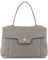 Prada Medium Leather Half Flap Satchel Bag Gray
