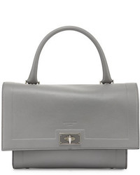 Givenchy Shark Small Waxy Leather Satchel Bag Pearl Gray