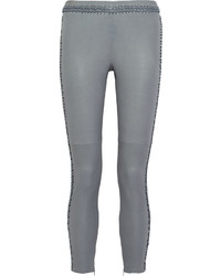 Grey Leather Skinny Pants