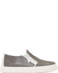 Grey Leather Slip-on Sneakers