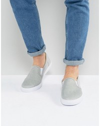 Asos Slip On Sneakers In Gray Mesh