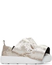 MSGM Taupe Velvet Ruched Trim Slip On Sneakers