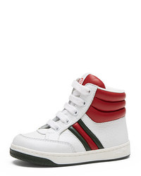 Gucci Ronnie Junior Leather High Top Sneaker Whiteredgreen Toddler