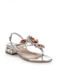Miu Miu Jeweled Metallic Leather Thong Sandals