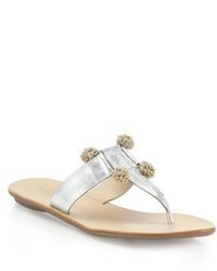 Loeffler Randall Sosie Pom Pom Metallic Leather Thong Sandals