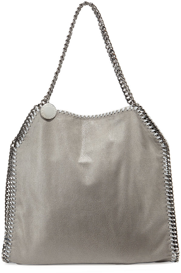 9bfea161bbe0 ... Stella McCartney Falabella Shimmery Faux Leather Big Tote Bag Light  Gray ...