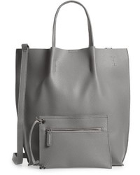 Street Level Faux Leather Tote Grey