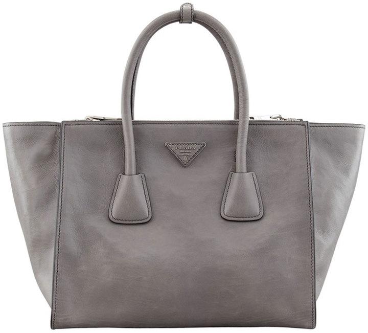 b7c0cf24dc5c Prada Glace Calf Large Twin Pocket Tote Bag Gray, $2,565 | Neiman ...