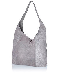River Island Grey Leather Snake Print Slouch Bag