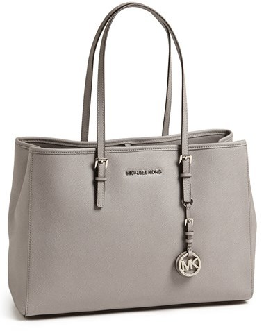 ... Grey Leather Tote Bags MICHAEL Michael Kors Michl Michl Kors Jet Set  Large Saffiano Leather Tote ... 4be381227ee9f