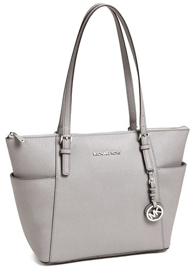 40e66c953 MICHAEL Michael Kors Michl Michl Kors Jet Set Leather Tote Grey, $248 |  Nordstrom | Lookastic.com