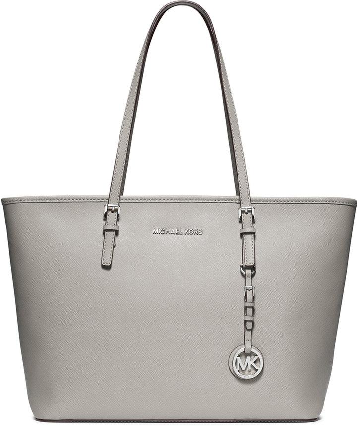 52c270733ee ... Leather Tote Bags MICHAEL Michael Kors Michl Michl Kors Jet Set  Saffiano Travel Tote Bag Pearl Gray ...