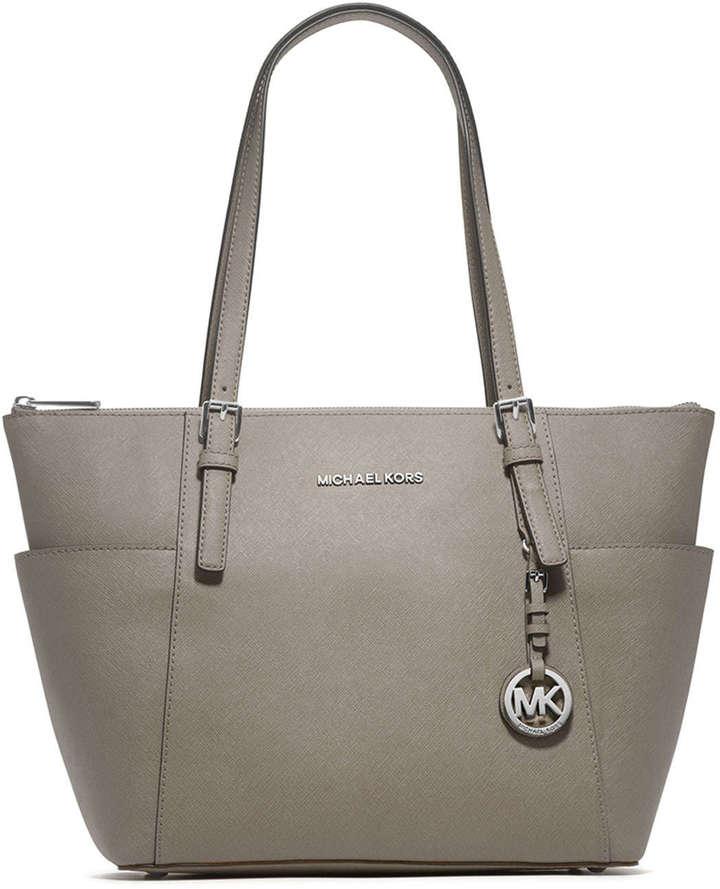 ... Leather Tote Bags MICHAEL Michael Kors Michl Michl Kors Jet Set Top Zip  Saffiano Tote Bag Pearl Gray ... 5b42b051aaee8