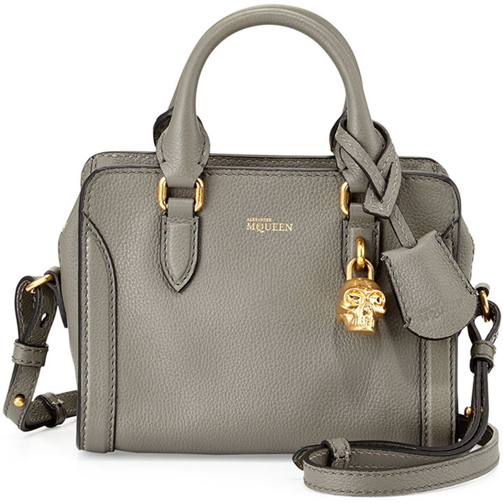 Alexander Mcqueen Mini Padlock Satchel Bag Dark Gra