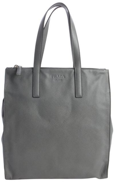 Prada Gray Saffiano Leather Large Shopper Tote | Where to buy ...