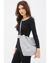 Forever 21 Zipper Trim Faux Leather Tote