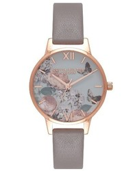Olivia Burton Enchanted Garden Leather Strap Watch 30mm