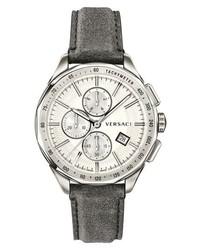 Versace Glaze Chronograph Leather Strap Watch