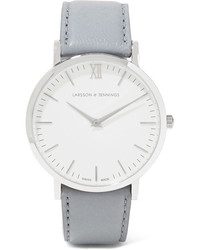 Larsson & Jennings Lugano Leather And Stainless Steel Watch Light Gray