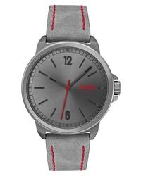 Hugo Lead Nubuck Leather Watch