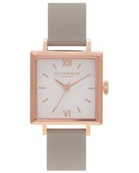 Olivia Burton Square Leather Strap Watch 30mm