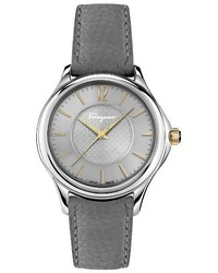 Salvatore Ferragamo Time Diamond Leather Strap Watch 33mm