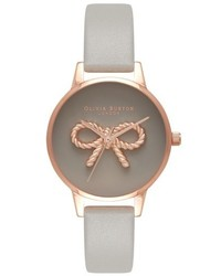 Olivia Burton Vintage Bow Leather Strap Watch 30mm