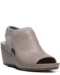 Naturalizer Cailla Leather Peep Toe Sling Back Wedge Sandals