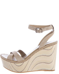 Miu Miu Leather Wedge Sandals