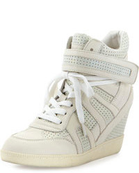 Grey Leather Wedge Sneakers