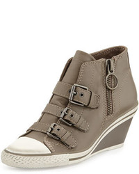 Ash Gin Bis Buckled Leather Wedge Sneaker Perkish