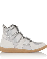 Maison Margiela Metallic Suede Mesh And Patent Leather High Top Sneakers