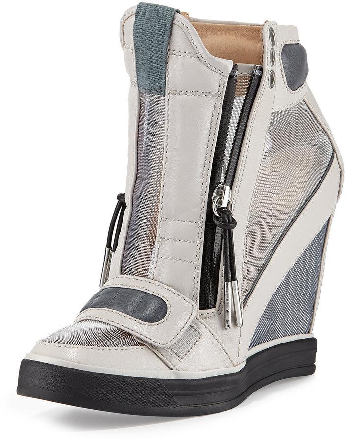 e03a52b4fe1 L.A.M.B. Stephanie Mesh Panel Wedge Sneaker Gray