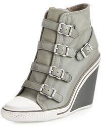 Thelma Cap Toe Wedge Sneaker Stone